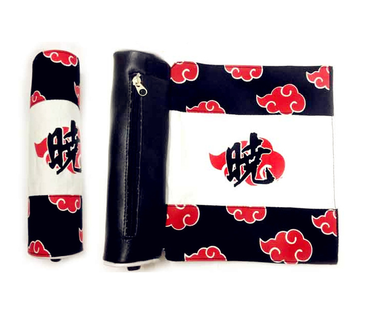 9.8/25cm Canvas Scroll Bag With Anime NARUTO Shippuden Akatsuki Organization Uchiha Itachi Pain Deidara Sasori Red Cloud Mark