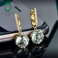 Caimao Jewelry 14KT Gold 8mm Round Cut 3.55ct Green Amethyst & 0.10ct Diamond Engagement Earrings