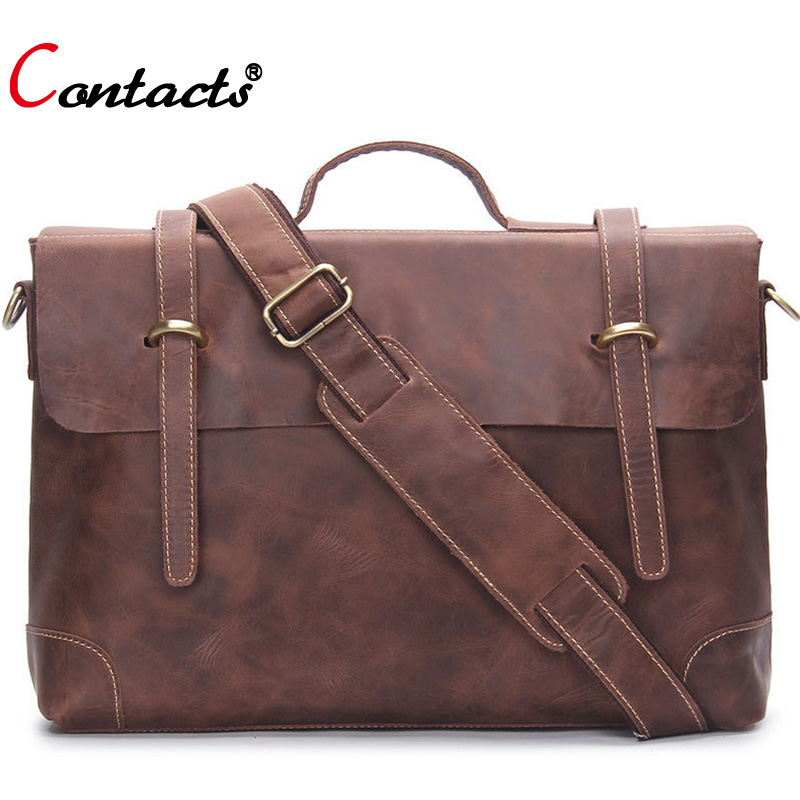CONTACT'S Genuine Leather Men Messenger Bags Designer Handbags High Quality Shoulder Crossbody Bags For Male Laptop Briefcase