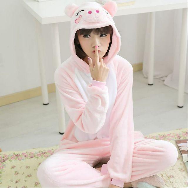 b7e64a7006768 En vente pyjama ensemble Animal femmes rose cochon à manches longues à  capuche flanelle pyjama ensembles