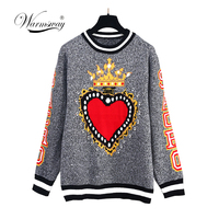 Autumn Winter Thicken Warm Couple Top Knitted Sweaters Plus Size Women Men Long Sleeve O Neck Outerwear Pullovers Gray C 278