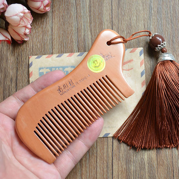 Party Favors Natural Peach Wood Mini Comb with tassel Close Teeth Head Massage Hair Care Tools Hairbrush Hairdressing Accessory 6