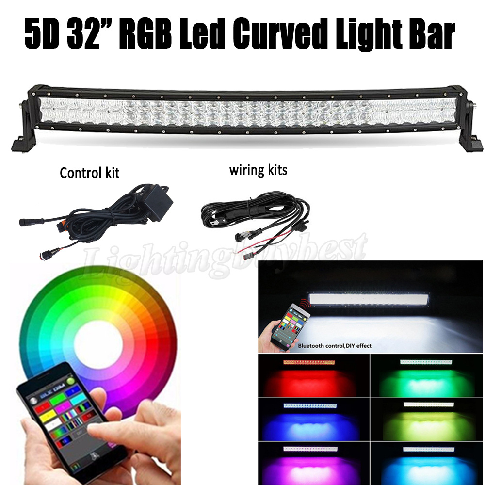 32 INCH 180W 5D LED RGB Curved Work Light Bar Combo Multicolor Changing For CREE chips Offroad ATV SUV Driving 4X4 4WD Boat APP auxbeam 54 312w 5d cree led light bar combo curved offroad led bar 2pcs 60w 5 led driving light for jeep truck atv suv