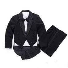 Коллекция года, весенне-Осенние костюмы для мальчиков на свадьбу, детские костюмы на выпускной черно-белые костюмы для мальчиков, смокинг, комплект одежды для детей, костюм для мальчиков