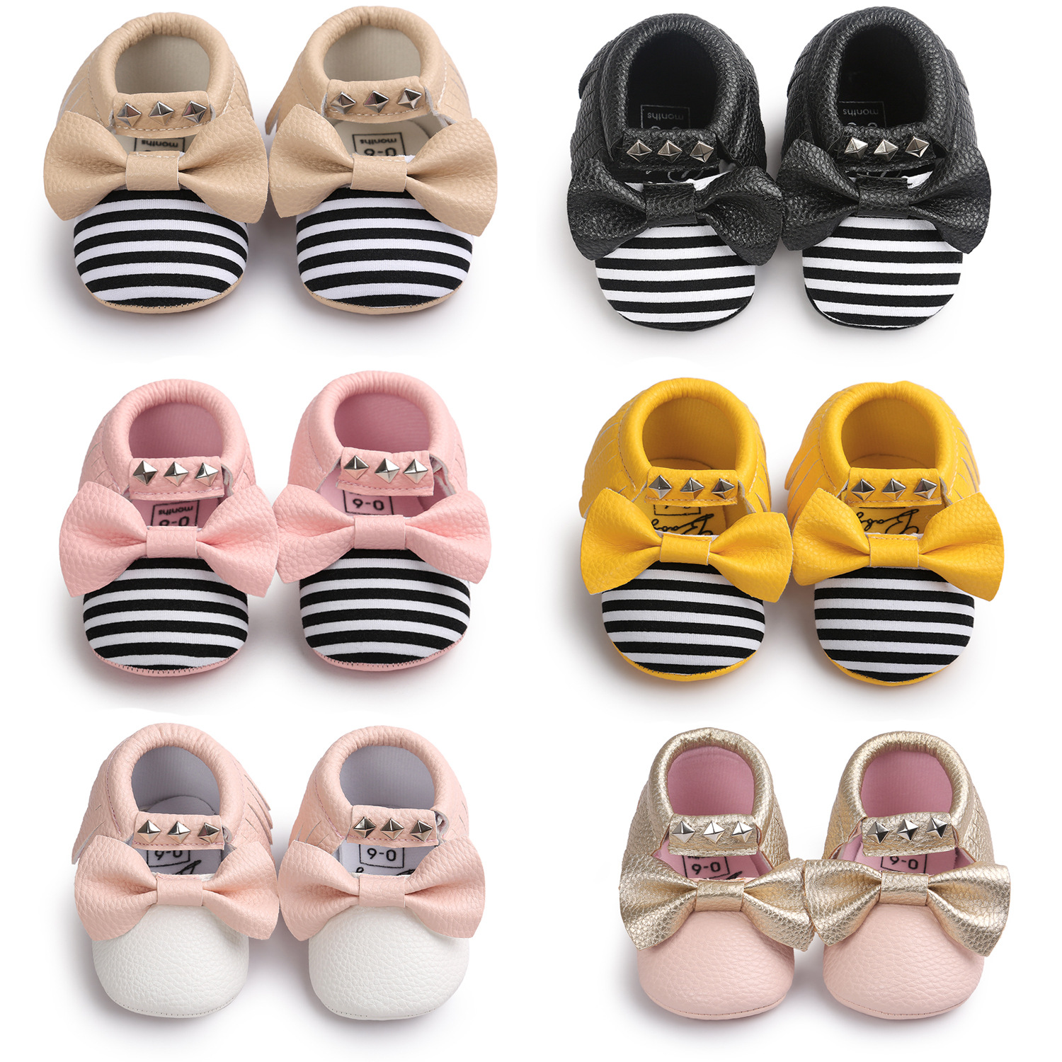 New Spring Rivets Baby Kids Leather Shoes Bow Boy Girl Baby Moccs Toddler Shoes PU Infant Shoes First Walkers