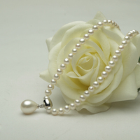 Eternal Wedding Women Gift Word 925 Sterling Silver Real Fine Natural Freshwater Pearl Necklace 3 4mm