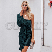CUERLY Elegant ruffles satin olive green women dress One shoulder bodycon party Autumn winter v neck sexy chic robe