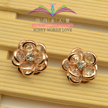 USTAR White Crystals Layers Flower Earrings  Gold color Fashion Stud Earring for Women Wedding Party Jewelry 982