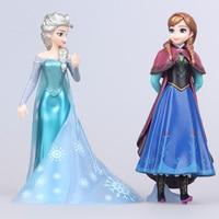 2Pcs/Set High-Quality Anime Cartoon Anna Elsa Princess Toys Princess Dolls For Girls 16cm Birthday Christmas Gifts For Kids
