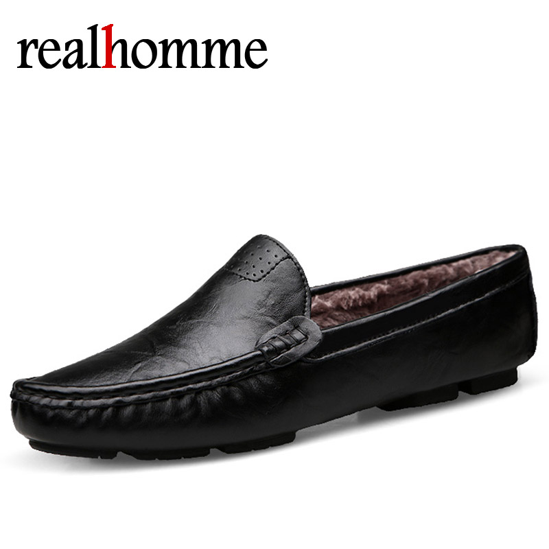 Casual Men's Loafers Winter Handmade Men Soft Leather Loafers Driving Shoes Warm Moccasins Flats for Man Plus Size Mens Loafers ltaly luxury brand men s handmade custom size casual loafers patent genuine leather tassel round toe driving flats shoes for man
