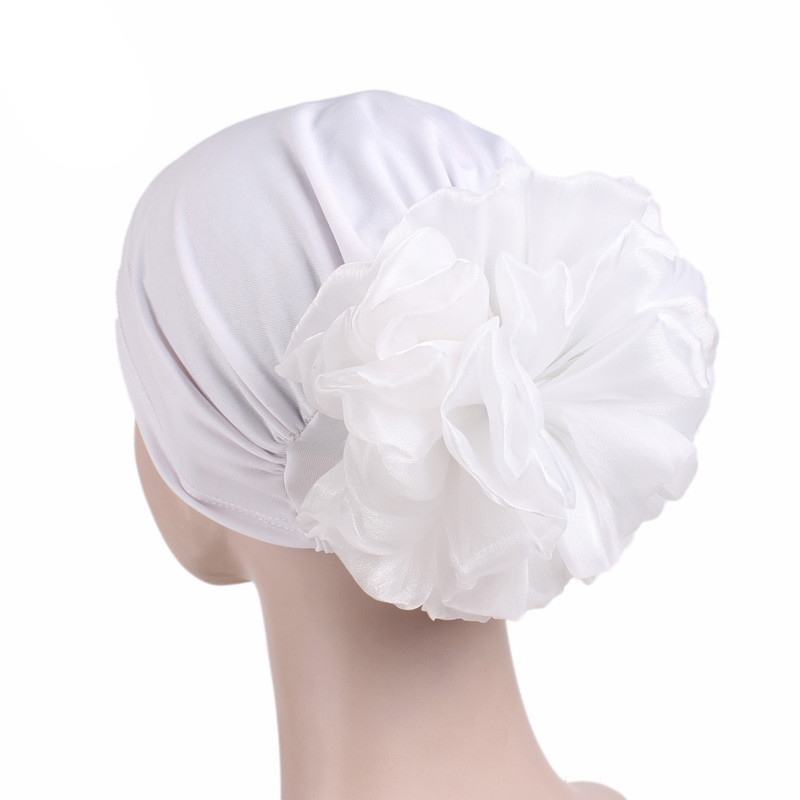 Women Stretch Solid Flower Elastic Turban Hat Chemo Beanie Head Scarf Wrap Cap Headwear For Cancer Patient Hair Loss Accessories