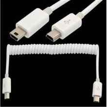 100PCS/ USB cable retractable spring mini 5P to male extension digital camera 5 core mobile