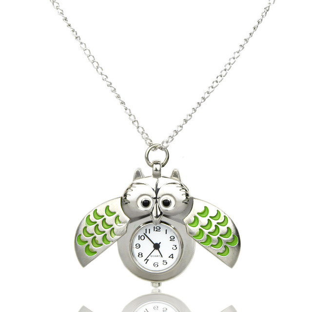 Fashion Retro Unisex Vintage double open Owl Pendant Antique Necklace Pocket Watch Gift High Quality Pendant Quartz Watch Clock