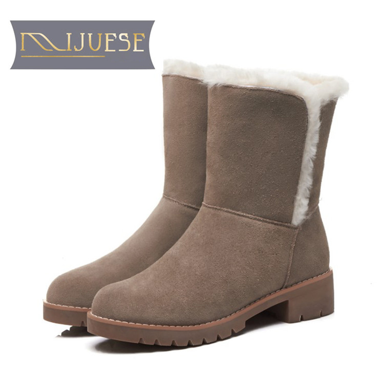 MLJUESE 2019 women snow boots Cow Suede Slip on Black color winter fur warm wool blend boots women ankle boots size 33-40 lapel flap pocket color block wool blend blazer