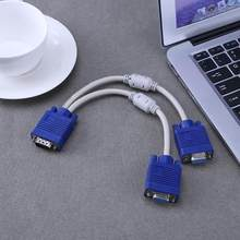 VGA Splitter Kabel Dual 2 Monitor 15pin Dua Port Laki-laki Ke Perempuan(China)