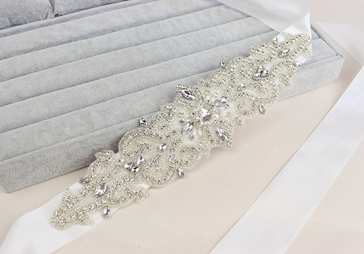 Купить с кэшбэком Rhinestone   Sash Bridal Sash Bridal Belt Ivory or White Satin Flower Girl Briesmaid Sash Wedding Belt