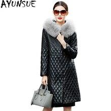 AYUNSUE Genuine Leather Jacket Winter Coat Women Real Sheepskin Coat Female Fox Fur Hooded Cotton Padded Outerwear Parka WYQ849