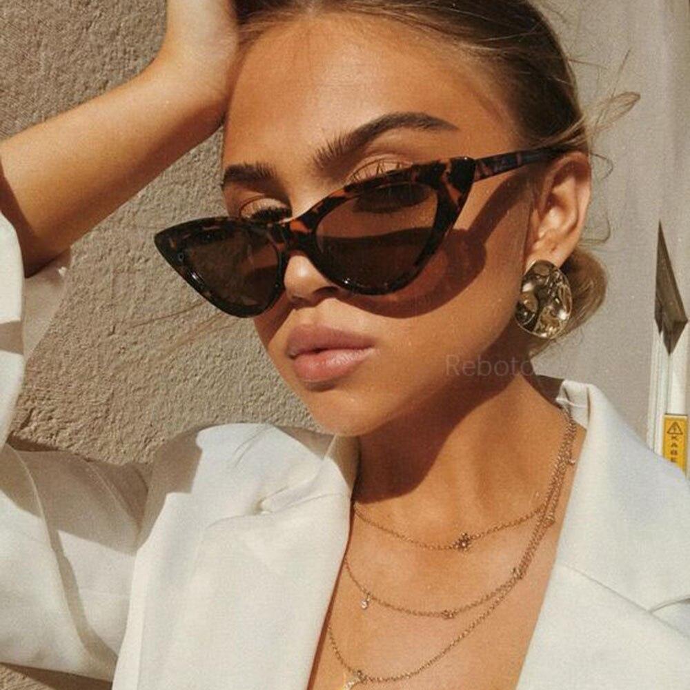 Gafas de sol bonitas y sexis de COOYOUNG, gafas de sol retro tipo ojo de gato para mujer, pequeñas, negras, blancas, triangulares, Vintage, baratas, para mujer, rojo, femenino, UV400