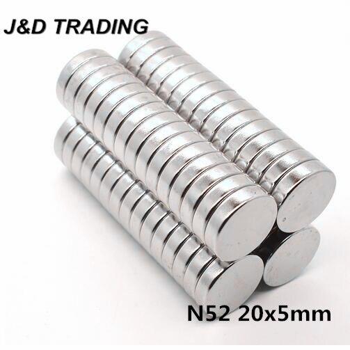 5pcs 20*5 Strong Disc Magnets Dia 20mm x 5mm N52 Rare Earth Neodymium Magnet 20x5 20mm*5mm