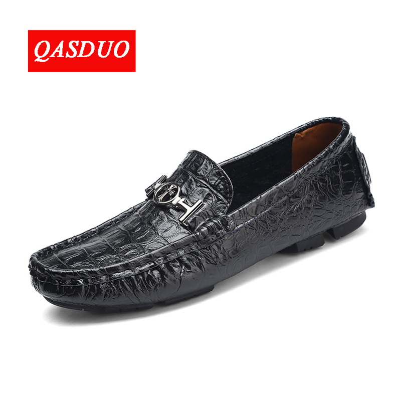 reputable site d561b 77a42 US $30.19 49% OFF|Driving Breathable Genuine Leather Flats Loafers Men  Shoes Casual Fashion Slip men Fenty beauty Large size QASDUO-in Men's  Casual ...