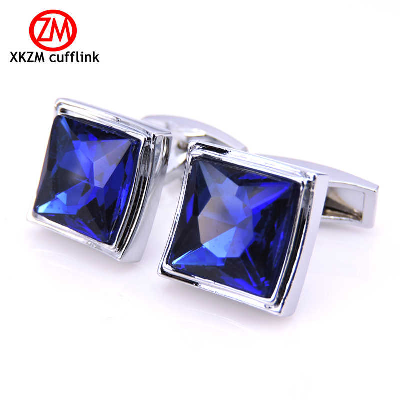 XKZM Jewelry French shirt cufflink for mens brand square High quality blue crystal Cuff link Luxury Wedding Button