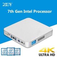 XCY DDR4 7th GEN Core i7 7500U i5 7200U i3 7100U Mini PC 4 К Intel HD Графика 620 Windows 10 Wi Fi Kaby Lake настольный компьютер