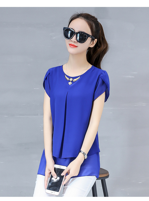 943f3b0986f337 Fake Two Pieces Blusas Female Casual Tops 2019 Women Summer Blouses Short  Sleeve Chiffon Blouse Plus Size Ladies Shirts F0192