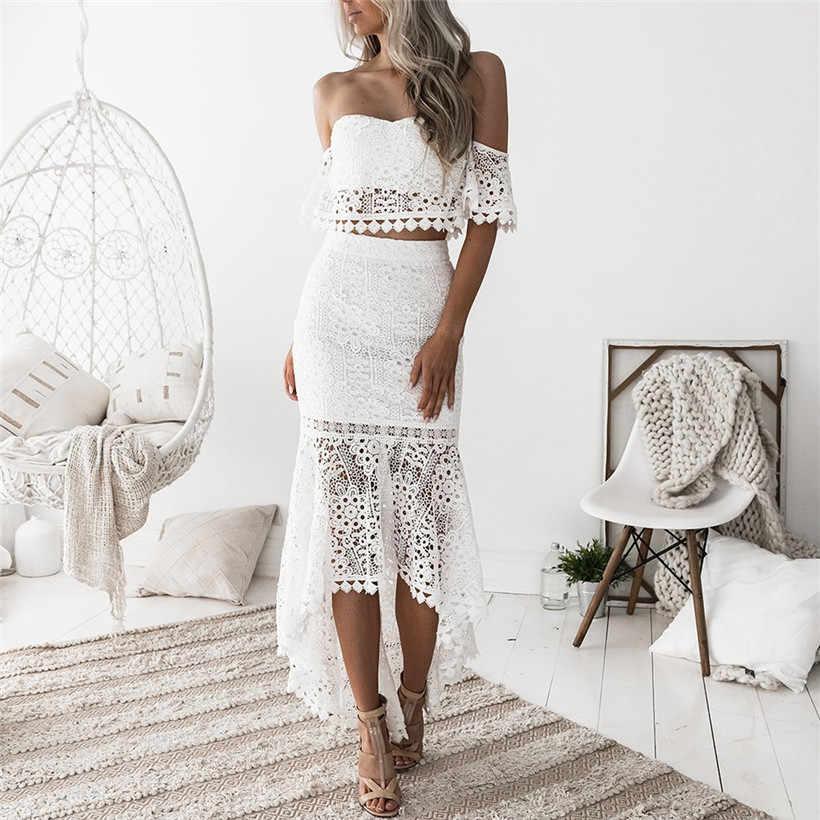Oulylan Laço Branco Long Beach Mulheres Vestido Elegante Fora Do Ombro Bodycon Verão Vestidos Sexy Sem Encosto Oco Vestido de Noite