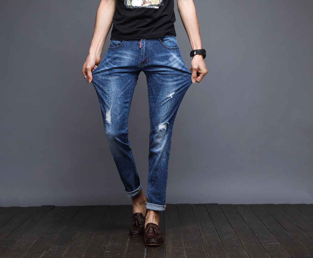 2017 New Spring brand clothing elastic jeans men male blue slim fit ripped denim pants quality hip hop casual catton trousers brand jeans men 2017 new fashion spring autumn mens jeans slim fitness cotton pants male brand clothing casual denim trousers