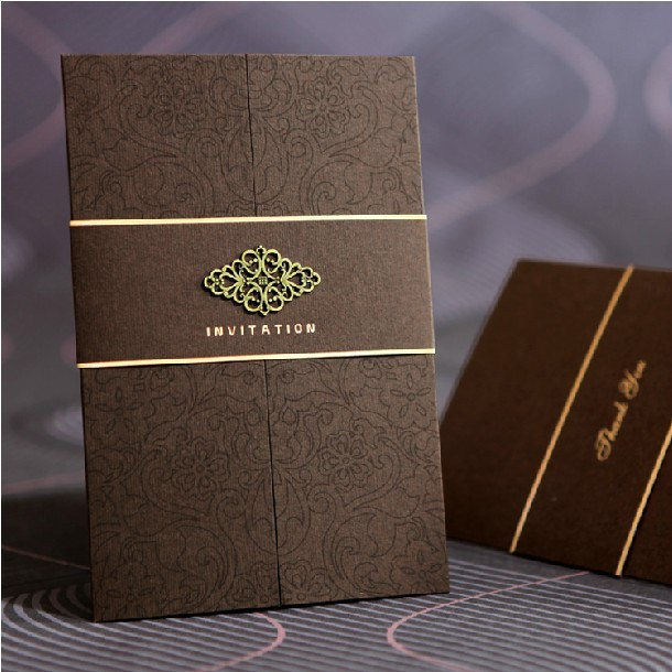 high class brown wedding invitations 2015 flower printed business