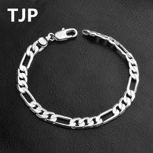 1b2340fd41df S TJP 6 MM hombres brazaletes accesorios de moda pulseras de plata 925 para  mujer joyería de fiesta de mujer chica Figaro pulser.
