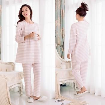 Maternity Nursing Long Sleeve Pajamas Set Women Pregnant Sleepwear Breastfeeding Pajamas Thermal Winter Fabric