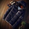 Новый 2016 зимняя мода письмо печати с капюшоном куртки мужчины slim fit сгущает капюшоном хлопка ватник мужчины мужская одежда MF11-1