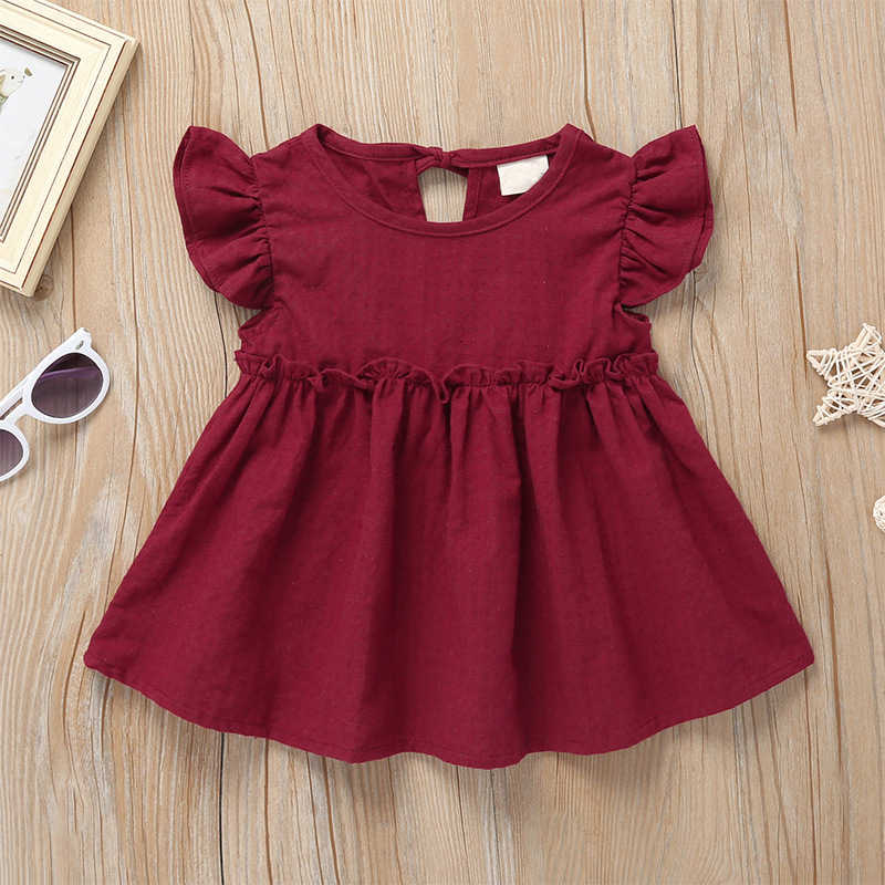 2019 Summer Infant Toddler Baby Girl Woven Dress Solid Cute Little Girl Dresses For 1-4 Years Old