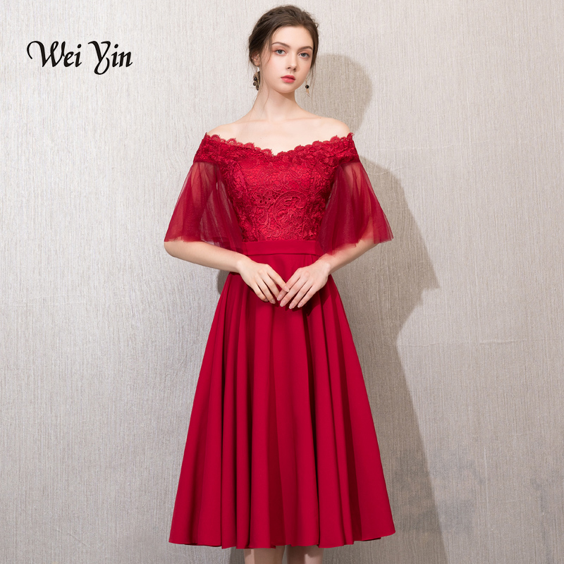 weiyin Lace Cocktail Dresses Elegant Short Homecoming Dress Formal Dress Little Wine Red Dress Women Short Prom Gown WY777