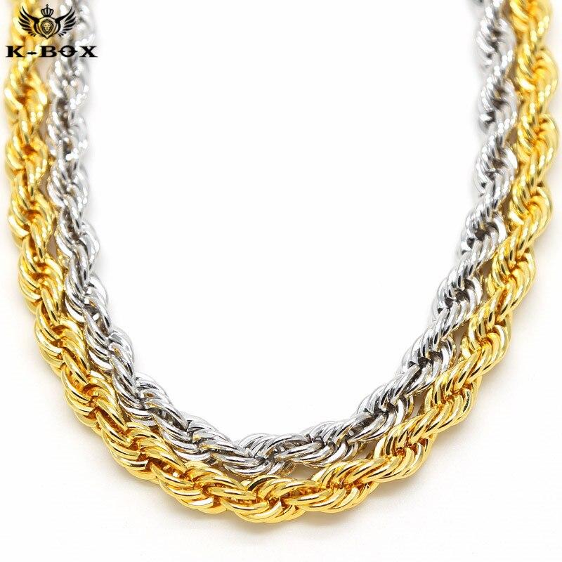Mens 24 K Oro/Plata Plateada 10mm Cuerda Collar de Cadena de 30