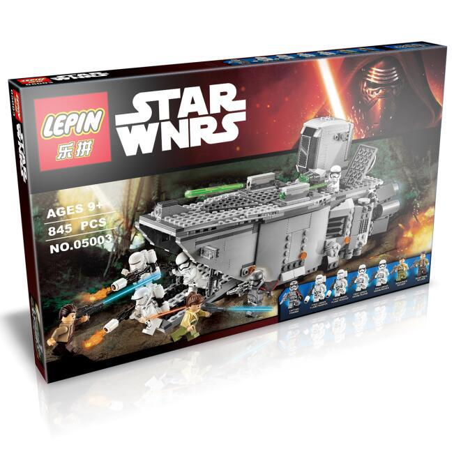 ФОТО 845pcs 05003 StarWars Force Awakens First Order Transporter Figure Toy Rey BB-8 Building Blocks Compatible With 75103 Boy gift