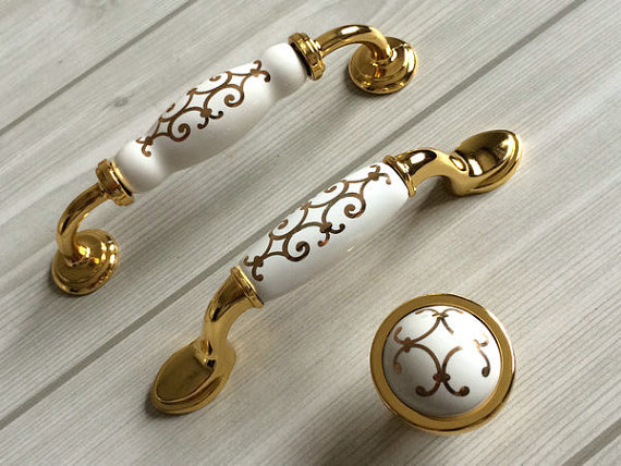 "3.75"" 5"" Porcelain Kitchen Cabinet Door Knobs Handle"