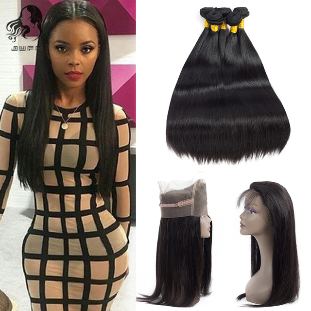 8A Mocha Peruvian Virgin Hair Straight With 360 Full Lace Band Frontal Closure 2/3pcs Straight Hair 360 Lace frontal With Bundle