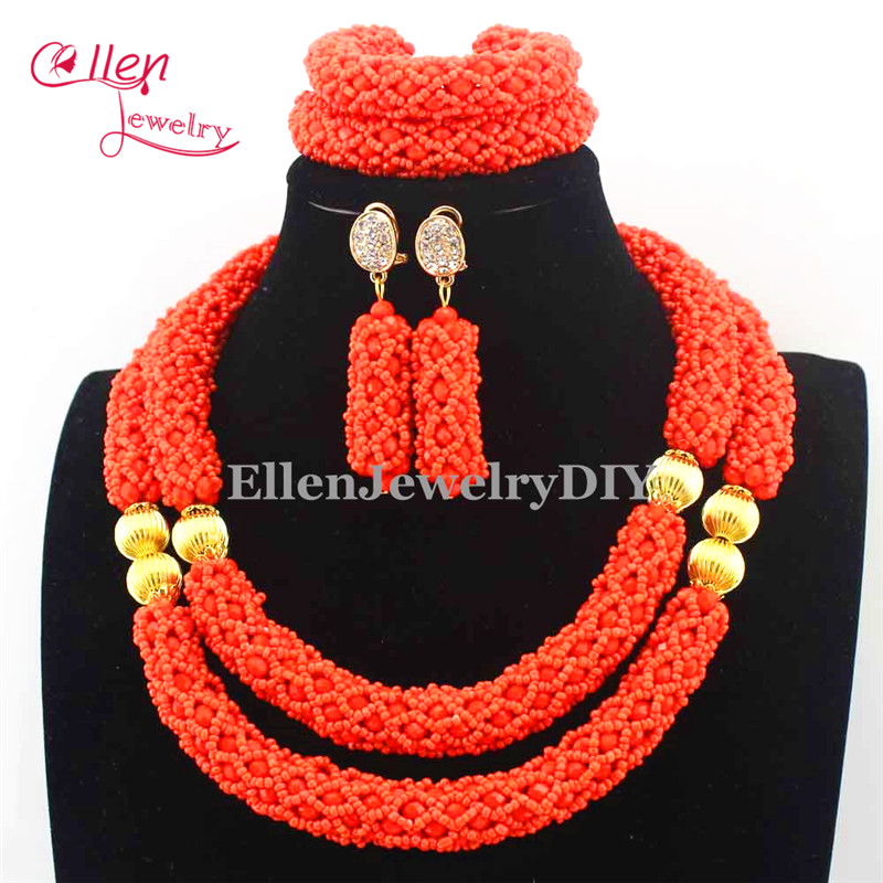 2016 Latest Nigerian wedding Beads Women Choker Necklace Jewlery Set Orange Crystal African beads Jewelry Sets E1063
