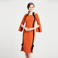 A primavera de 2018 novo de comércio exterior vestido elegante collar cor magro vestido pacote de hip vestido cerimonial