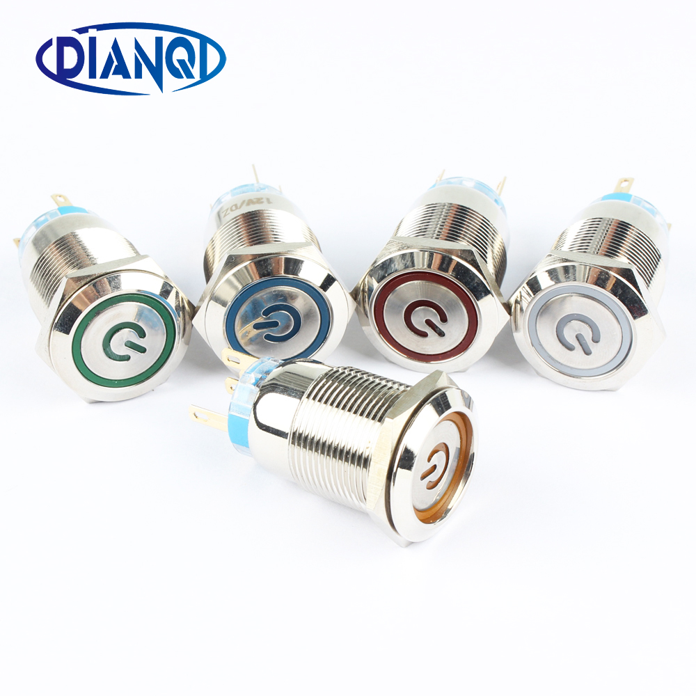 19mm Metal Power mark brass Push Button Switch flat round illumination Momentary or Locking Latching 1NO 1NC Car button 19HXDY 1no 1nc latching type 16mm round metal power push button switch 5pin multicolor ring led angel eye power symbol switch 12v 24v