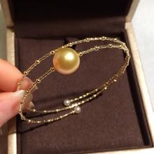 Sinya ナチュラルゴールデン真珠 18 18k AU750 ゴールドチューブ腕輪女性ガールママ恋人真珠の直径 10  11 センチメートル