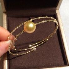 Sinya Natural Golden pearls 18k AU750 gold tube Bangles bracelet for women girl Mom lover pearl diameter 10 11cm