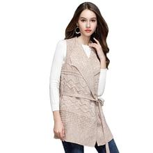 New Knitted Cardigan Sweater Woman Jacket 2017 Autumn Winter Fashion Slim Sleeveless Long Cardigan Woman Sweater Coat BL296 I