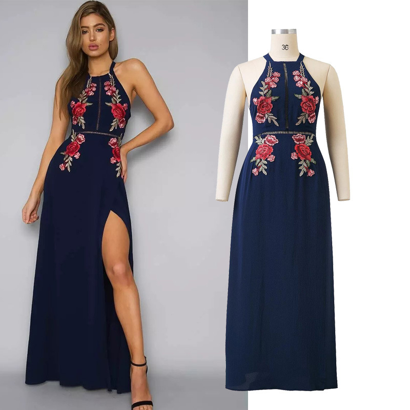 876a9b154 2017 Summer Fashion Embroidery Flowers Long Dress Women Sexy Harness Halter  Straps Vestidos Mujer Split The Fork Vestido Longo