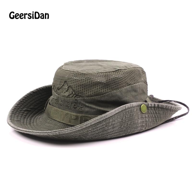 397a1536e GEERSIDAN Férfi Bob nyári vödör kalapok Kültéri horgászat Széles ...