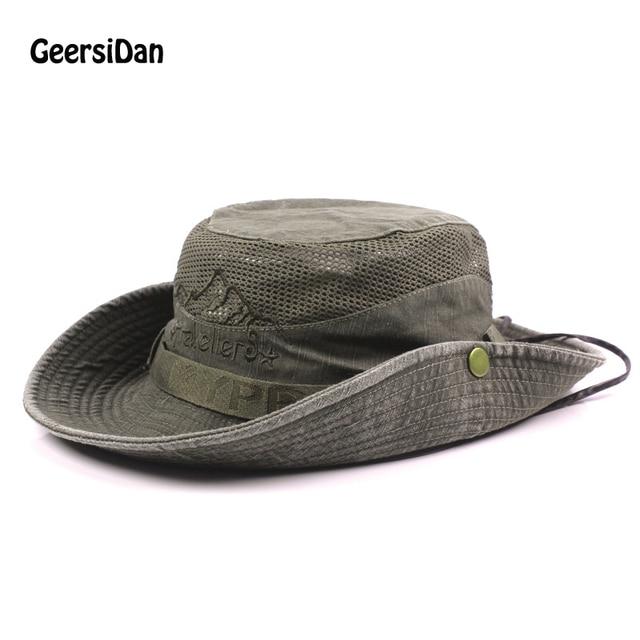 c14d9cf4921 GEERSIDAN New Cotton Summer Spring men s Bucket Hats big Wide Brim fishing  hats for men women