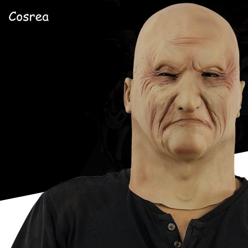 COSREA Realistic Latex Old Man Mask Face Disguise Cosplay Costume Fancy Masquerade Helmet Rubber Halloween Party Adult Men
