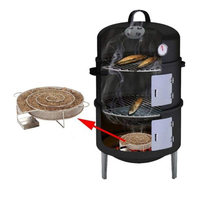 Stainless Steel Cold Smoke Generator Barbecue Bbq Grill Accessories Salmon Cooking Tools Round Smoker With Salmon Meat Bacon